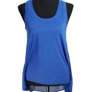 Ambiance Apparel. Hi-lo Tank with Sheer Open Back